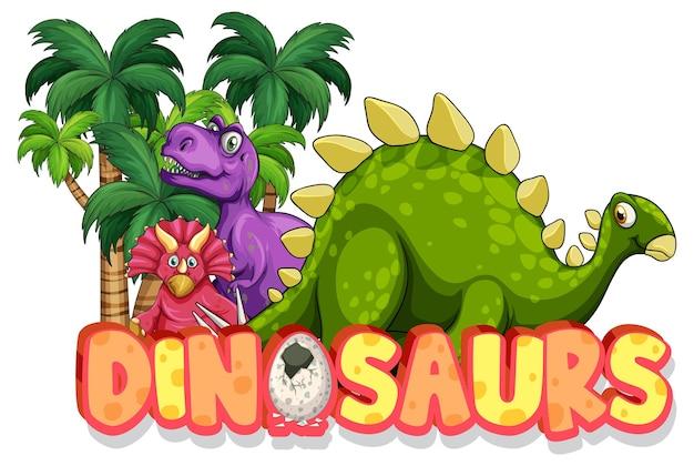 Personagem de desenho animado de dinossauros fofinhos com banner de fonte de dinossauros