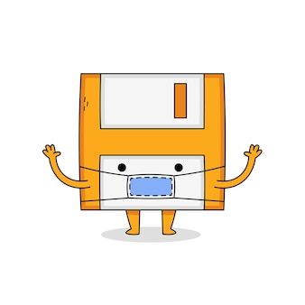 Personagem de desenho animado de disquete fofo usando máscara