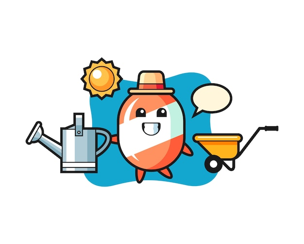 Personagem de desenho animado de doce segurando o regador