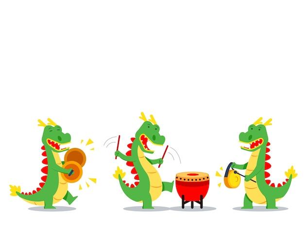 Personagem de desenho animado de dragão tocando música para a celebração do ano novo chinês