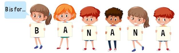 Personagem de desenho animado de duas crianças soletrando vocabulário de frutas