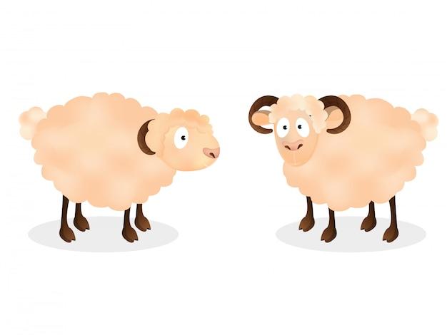 Personagem de desenho animado de duas ovelhas em pé
