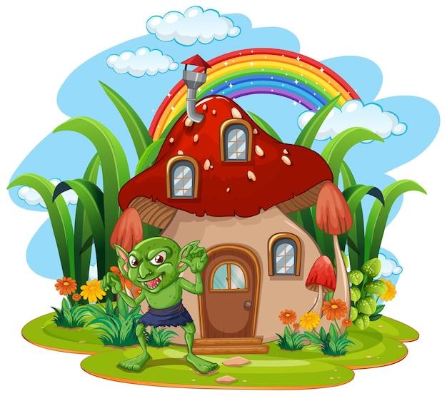 Personagem de desenho animado de duende com casa de cogumelo