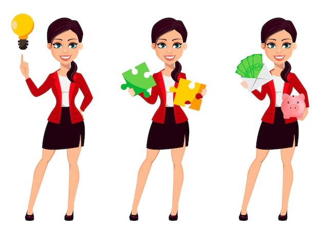Personagem de desenho animado de empresária. mulher bonita
