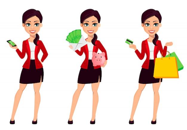 Personagem de desenho animado de empresária