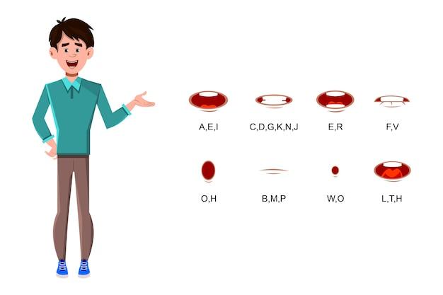 Personagem de desenho animado de empresário com sincronização labial diferente para design