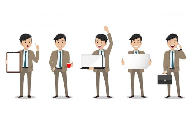 Personagem de desenho animado de empresário, conjunto de cinco poses