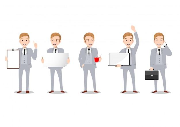 Personagem de desenho animado de empresário, conjunto de quatro poses. homem de negócios bonito terno esperto. ilustração vetorial