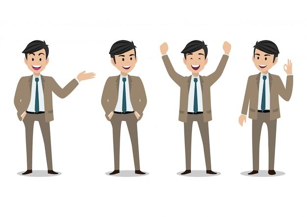 Personagem de desenho animado de empresário, conjunto de quatro poses