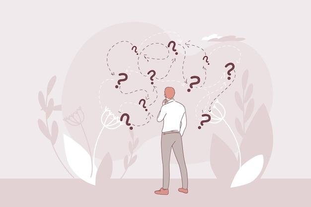 Personagem de desenho animado de empresário em pé e, seguindo as instruções da solução certa para situações de dilema de perguntas