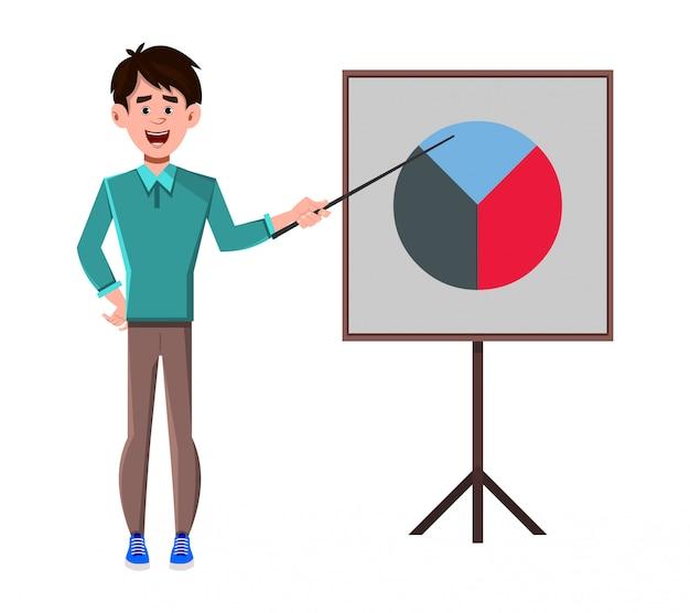 Personagem de desenho animado de empresário fazendo apresentação