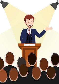 Personagem de desenho animado de empresário, presentes poses