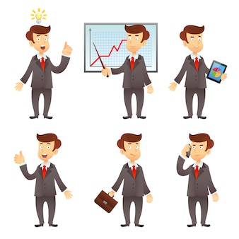 Personagem de desenho animado de empresário