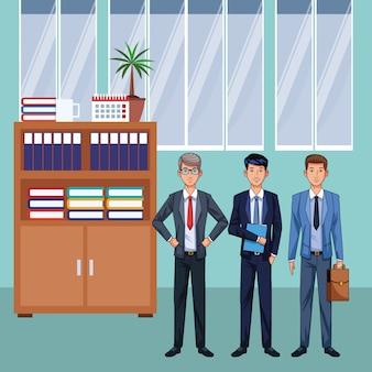 Personagem de desenho animado de empresários