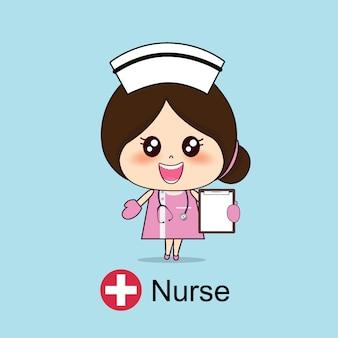 Personagem de desenho animado de enfermeira