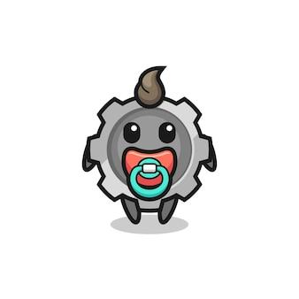 Personagem de desenho animado de engrenagem para bebê com chupeta, design de estilo fofo para camiseta, adesivo, elemento de logotipo