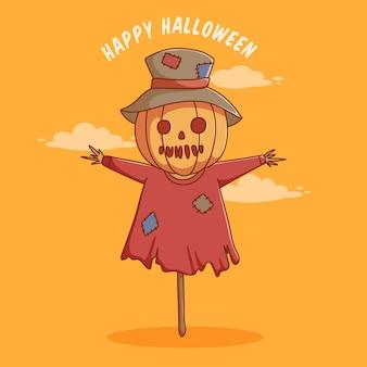 Personagem de desenho animado de espantalho fofo para pôster ou banner de convite de halloween