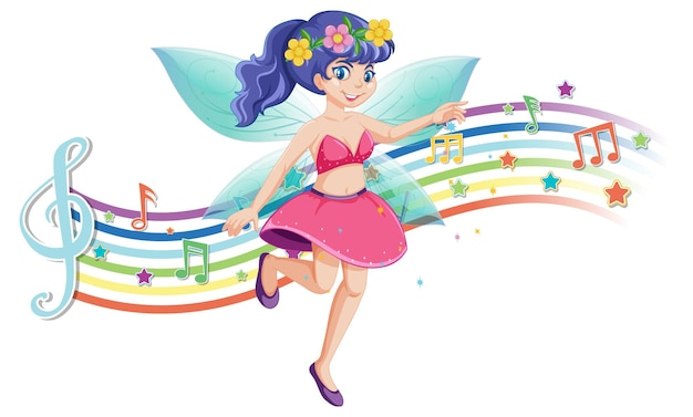 Personagem de desenho animado de fada fofa com onda de arco-íris melódico