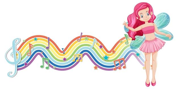 Personagem de desenho animado de fada fofa com onda de arco-íris