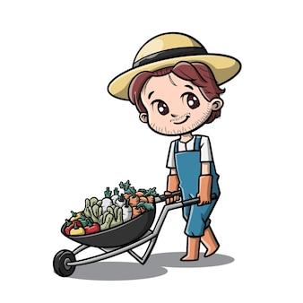 Personagem de desenho animado de fazendeiro fofo
