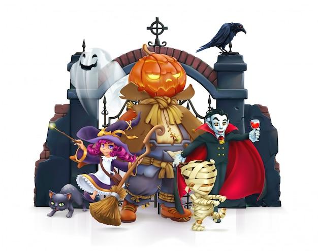 Personagem de desenho animado de feliz dia das bruxas
