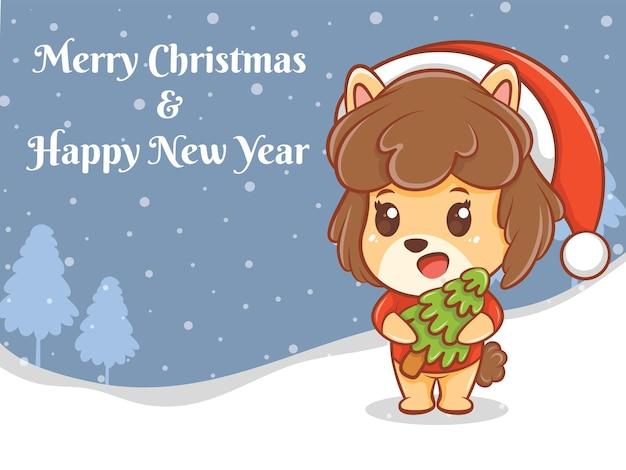 Personagem de desenho animado de filhote de cachorro fofo com banner de feliz natal e feliz ano novo