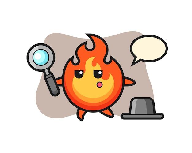 Personagem de desenho animado de fogo procurando com uma lupa, design de estilo fofo para camiseta, adesivo, elemento de logotipo