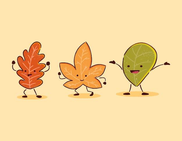 Personagem de desenho animado de folha de outono engraçado