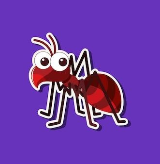Personagem de desenho animado de formiga bonita