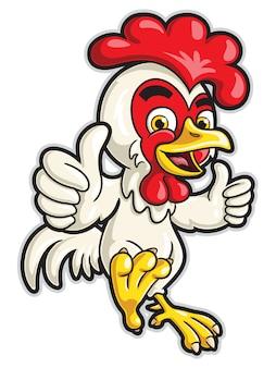 Personagem de desenho animado de frango com dois polegares