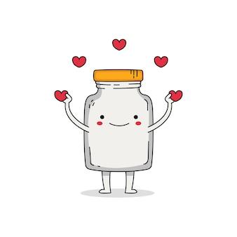 Personagem de desenho animado de frasco de vidro fofo espalhando amor