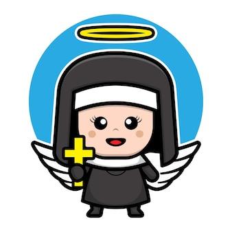 Personagem de desenho animado de freira anjo fofo