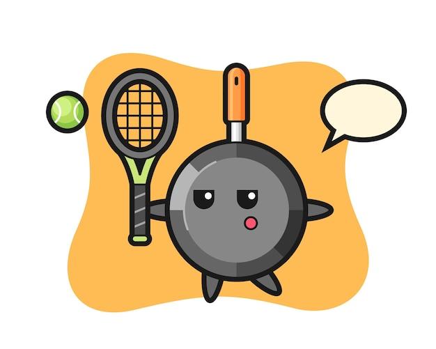 Personagem de desenho animado de frigideira como jogador de tênis