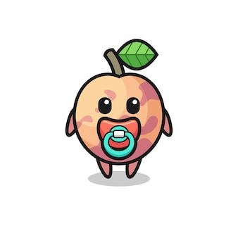 Personagem de desenho animado de frutas pluot bebê com chupeta, design de estilo fofo para camiseta, adesivo, elemento de logotipo