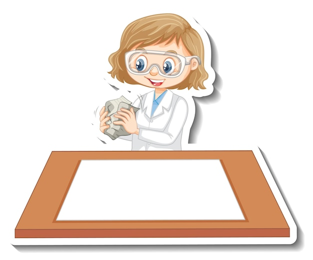 Personagem de desenho animado de garota cientista com mesa em branco