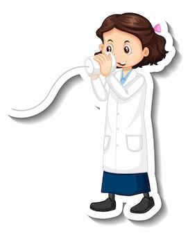 Personagem de desenho animado de garota cientista com objeto de experimento científico