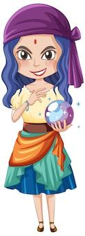 Personagem de desenho animado de garota clarividente em fundo branco