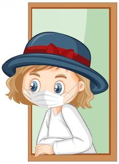 Personagem de desenho animado de garota de chapéu usando máscara