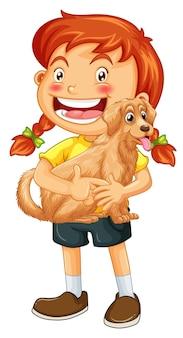 Personagem de desenho animado de garota feliz abraçando um cachorro fofo