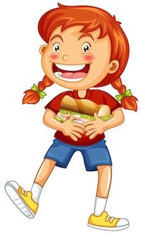 Personagem de desenho animado de garota feliz abraçando um sanduíche de comida