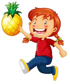 Personagem de desenho animado de garota feliz segurando um abacaxi