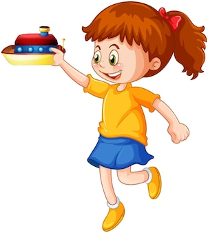 Personagem de desenho animado de garota feliz segurando um navio de brinquedo