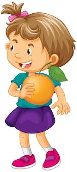 Personagem de desenho animado de garota feliz segurando uma laranja