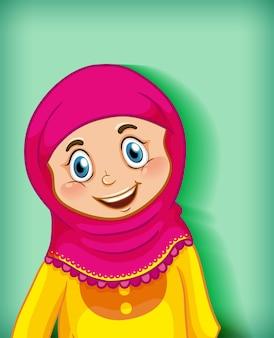 Personagem de desenho animado de garota muçulmana feliz