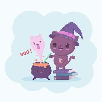 Personagem de desenho animado de gato bruxa de halloween e o fantasma no pote de mágica.