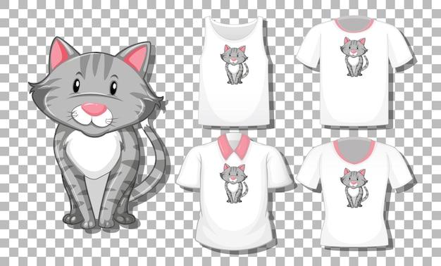 Personagem de desenho animado de gato com conjunto de diferentes camisas isoladas em transparente