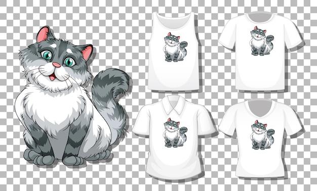 Personagem de desenho animado de gato com conjunto de diferentes camisas isoladas