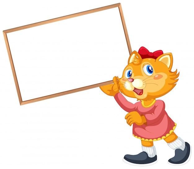 Personagem de desenho animado de gato com letreiro em branco