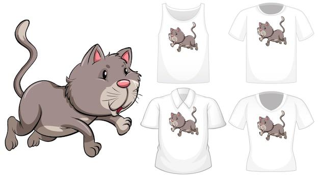 Personagem de desenho animado de gato com um conjunto de diferentes camisas isoladas em branco