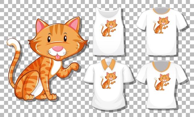 Personagem de desenho animado de gato com um conjunto de diferentes camisas isoladas em um fundo transparente